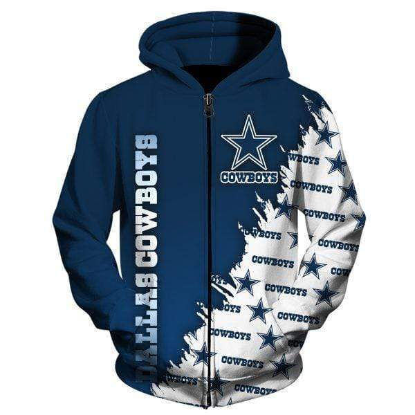 NFL football dallas cowboys full printing zip hoodie