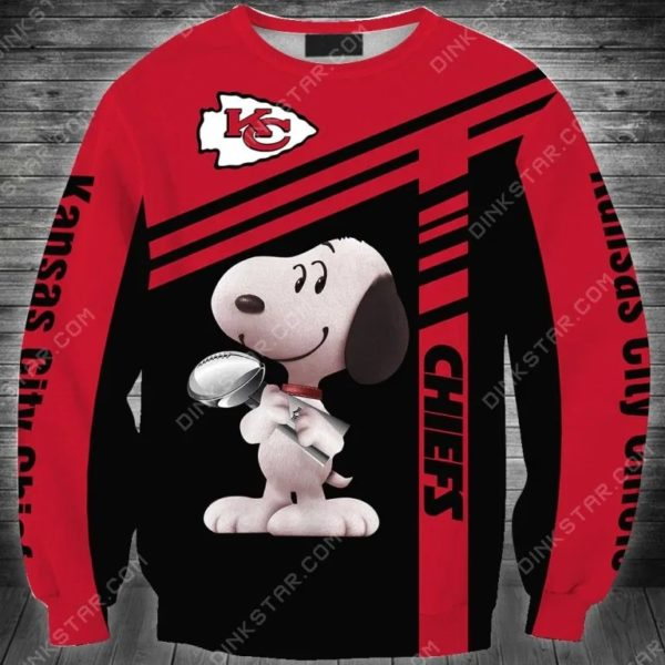 NFL football kansas city chiefs snoopy full printing sweatshirt