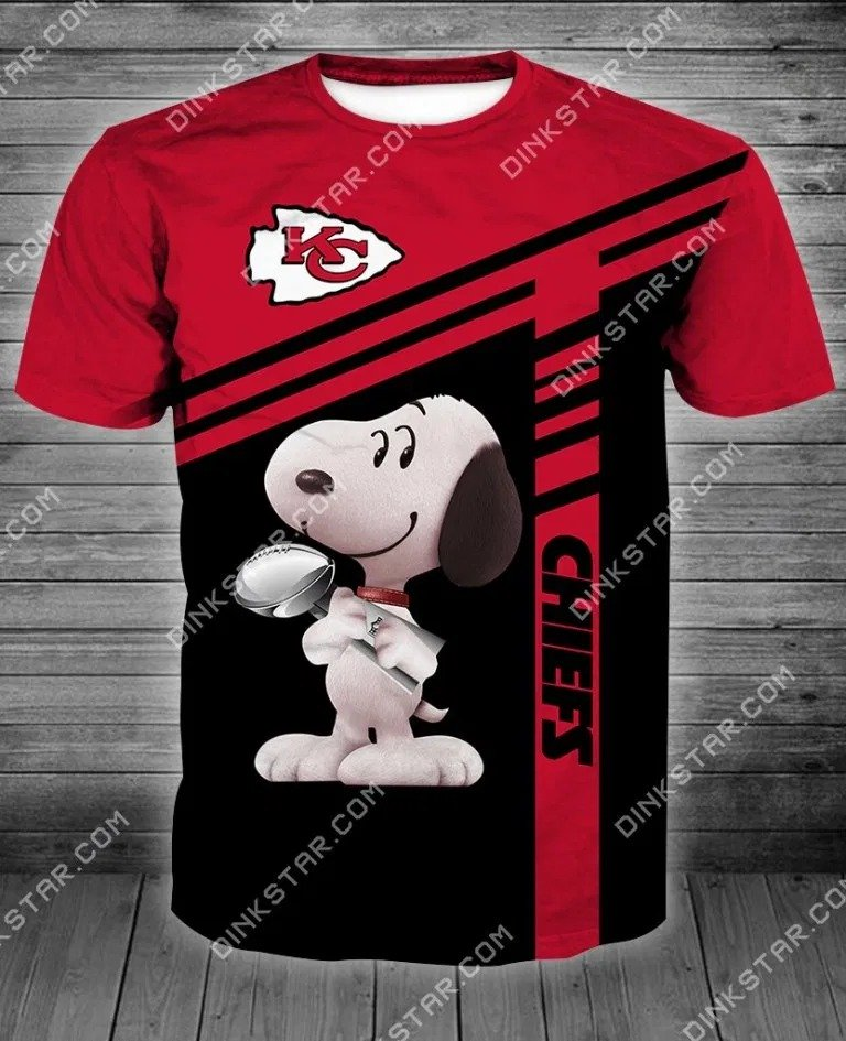 NFL football kansas city chiefs snoopy full printing tshirt