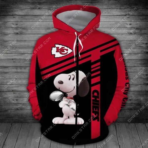 NFL football kansas city chiefs snoopy full printing zip hoodie