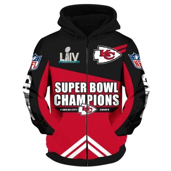 NFL super bowl champions kansas city chiefs all over print zip hoodie