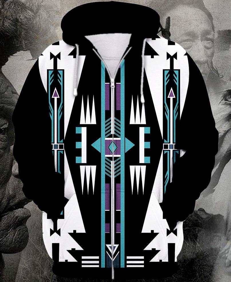 Native american native pattern full printing zip hoodie