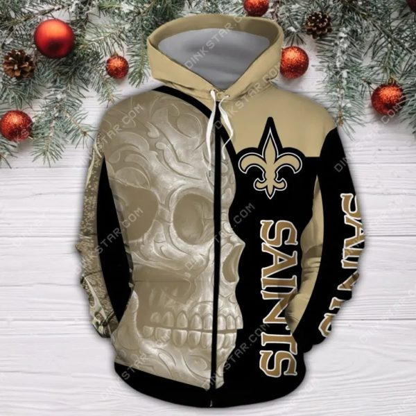 New orleans saints sugar skull all over print zip hoodie