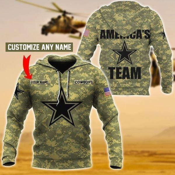 Personalized america's team dallas cowboys camo full printing hoodie 2