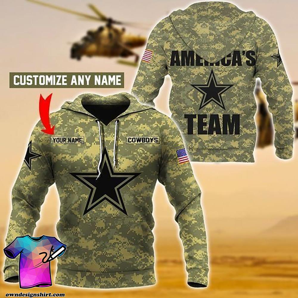 Personalized america's team dallas cowboys camo full printing shirt