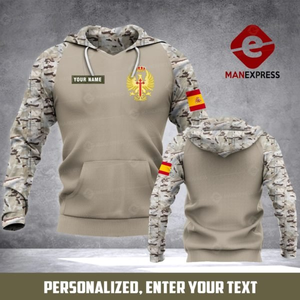 Personalized army spanish full printing hoodie 3