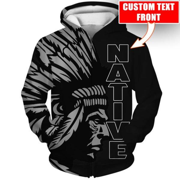 Personalized native american cultures full printing zip hoodie