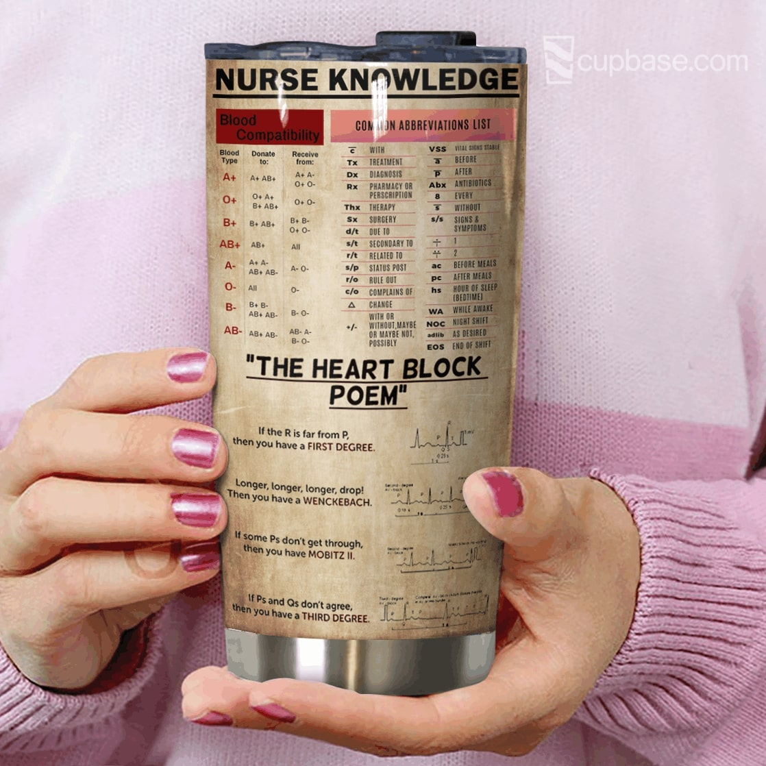 Personalized nurse knowledge full over printed tumbler 3