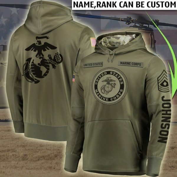 Personalized united states marine corps all over printed hoodie 3