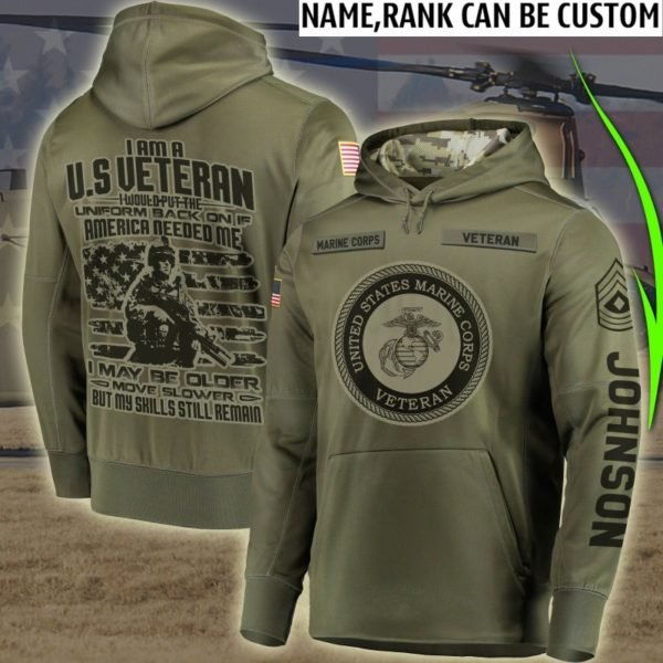 Personalized us marine corps veteran all over print hoodie 2