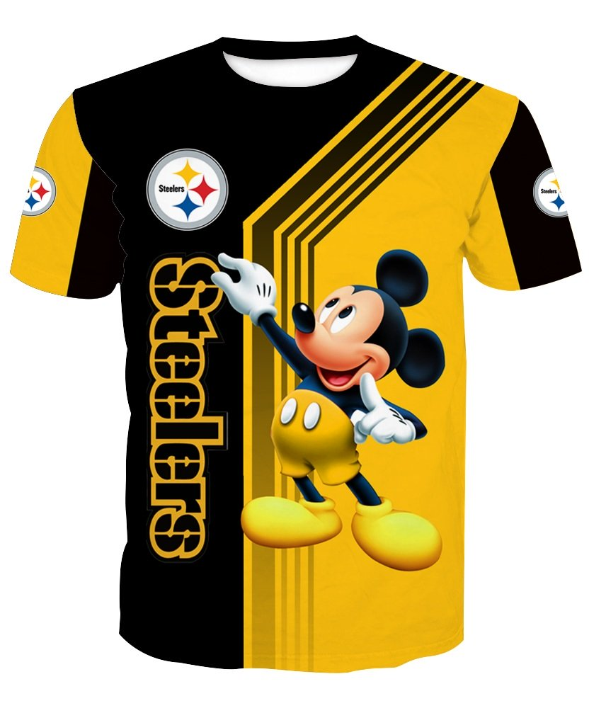 Pittsburgh steelers mickey mouse full printing tshirt