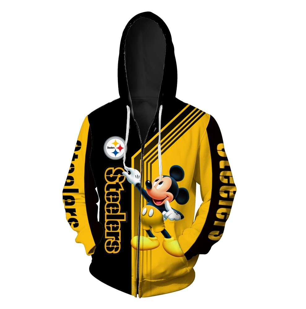 Pittsburgh steelers mickey mouse full printing zip hoodie