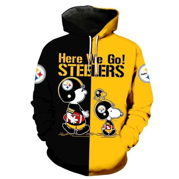 Pittsburgh steelers snoopy and charlie brown full printing hoodie