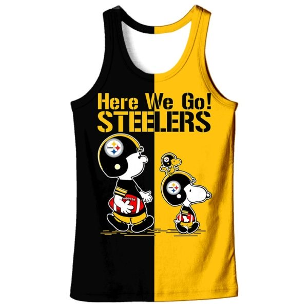 Pittsburgh steelers snoopy and charlie brown full printing tank top