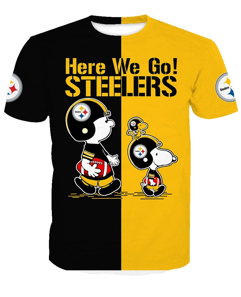 Pittsburgh steelers snoopy and charlie brown full printing tshirt
