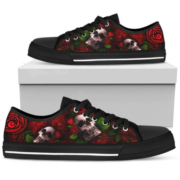 Rose and skull low top shoes 3
