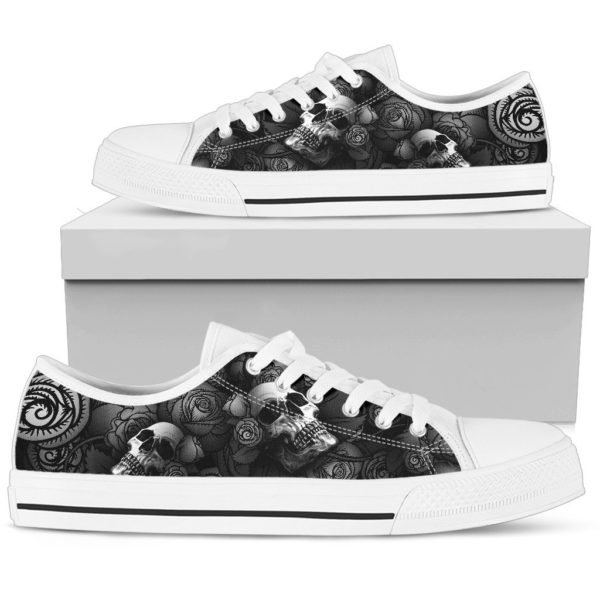 Rose skull low top shoes 2