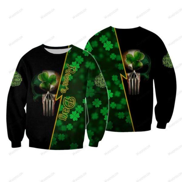 Saint patrick's day ireland flag skull full printing sweatshirt