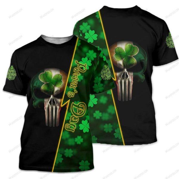 Saint patrick's day ireland flag skull full printing tshirt
