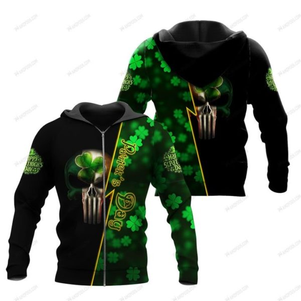 Saint patrick's day ireland flag skull full printing zip hoodie