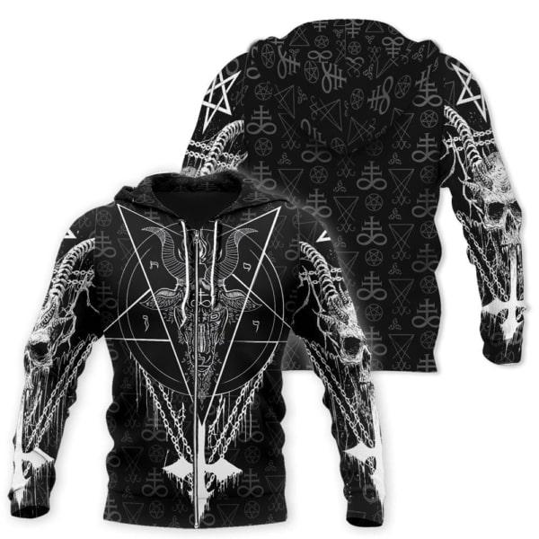 Satanic satan full printing zip hoodie