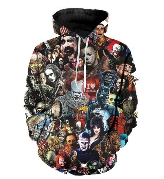 Serial killer horror full printing hoodie