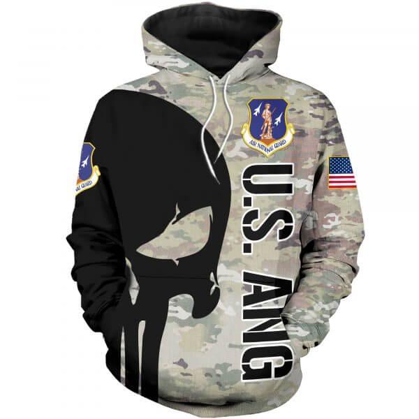 Skull air national guard full printing hoodie