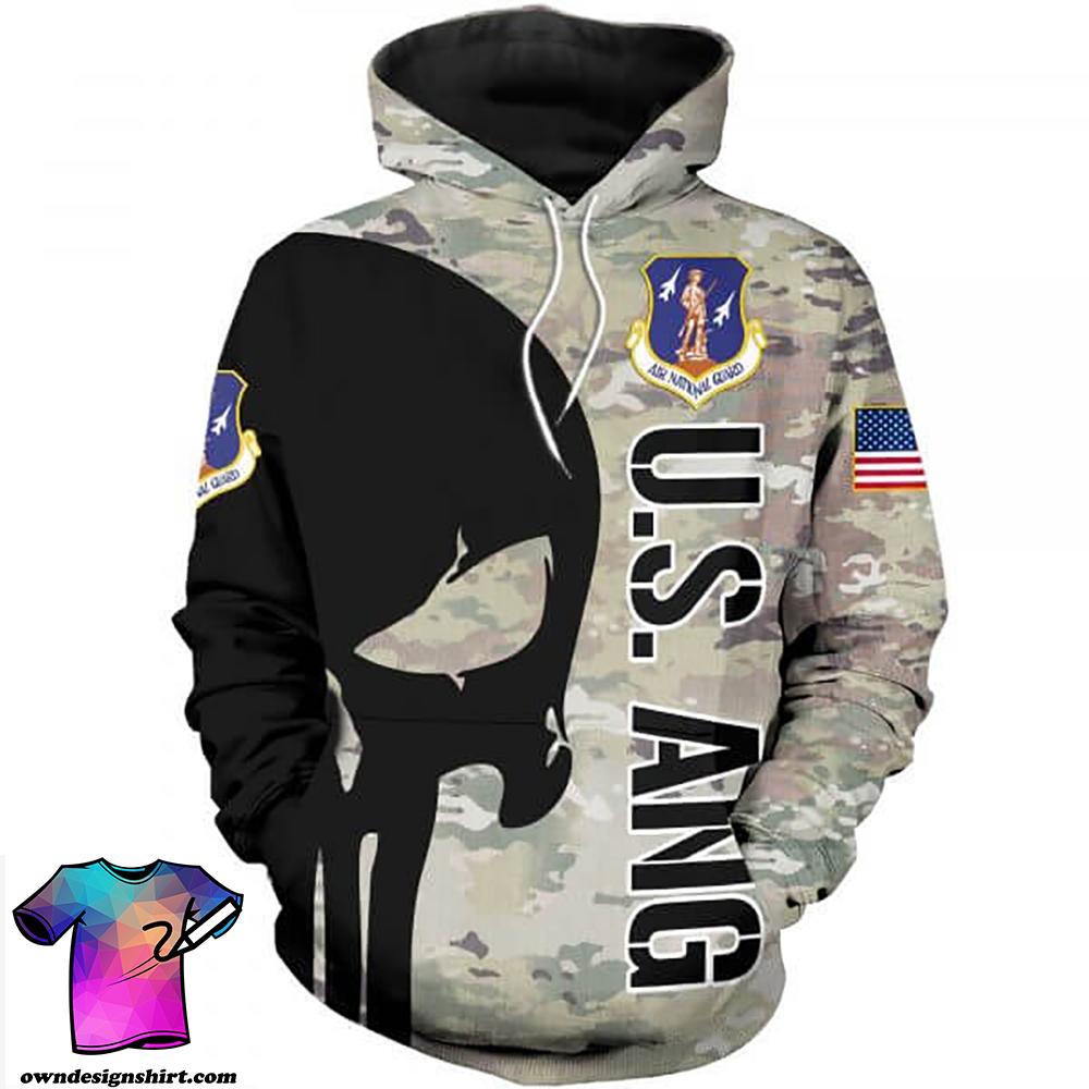 Skull air national guard full printing shirt