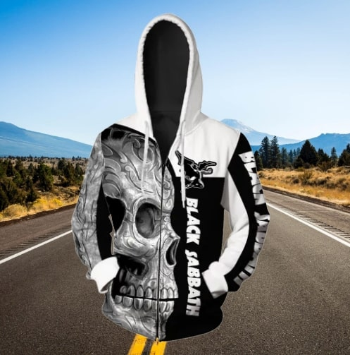 Skull black sabbath full printing zip hoodie