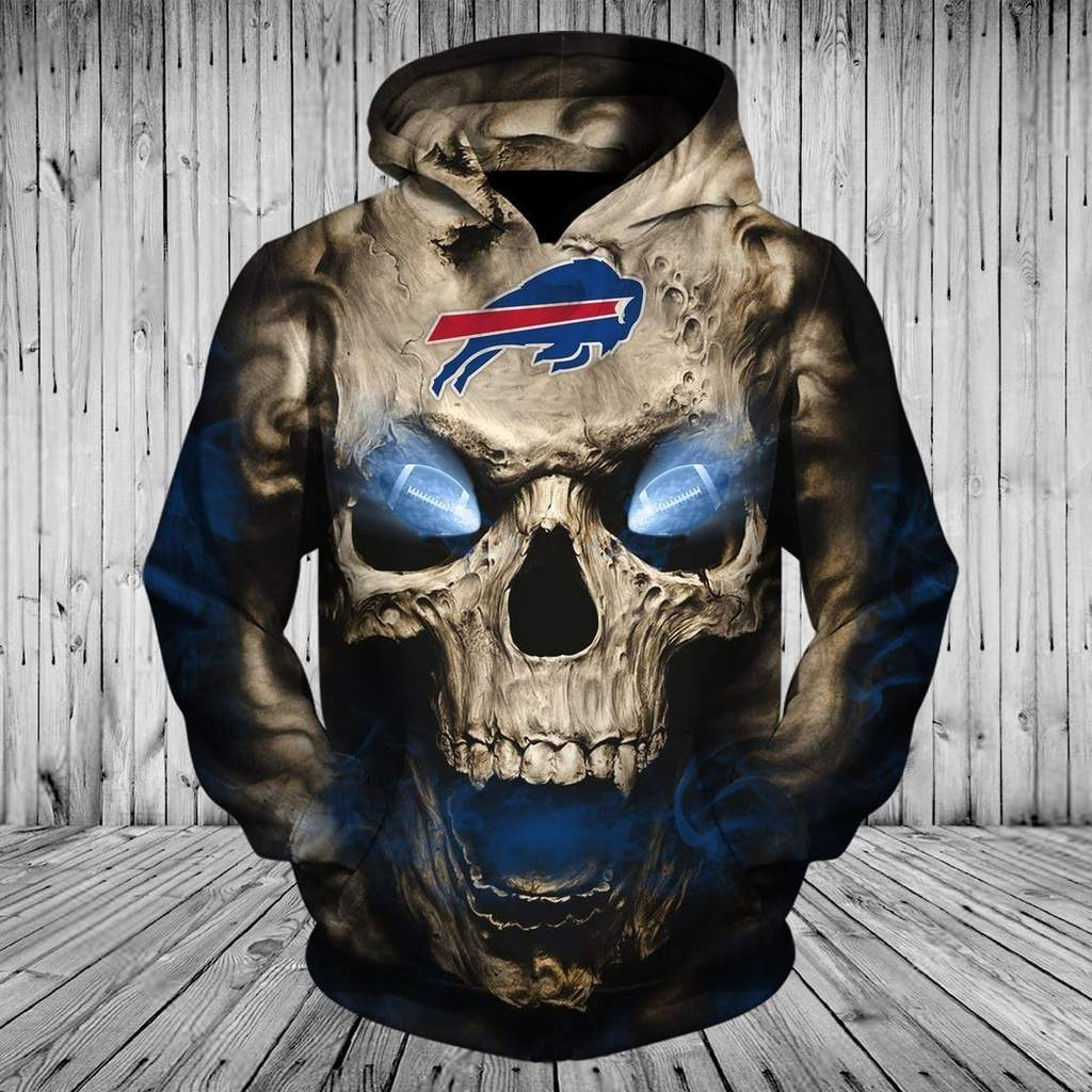 Skull buffalo bills full printing hoodie