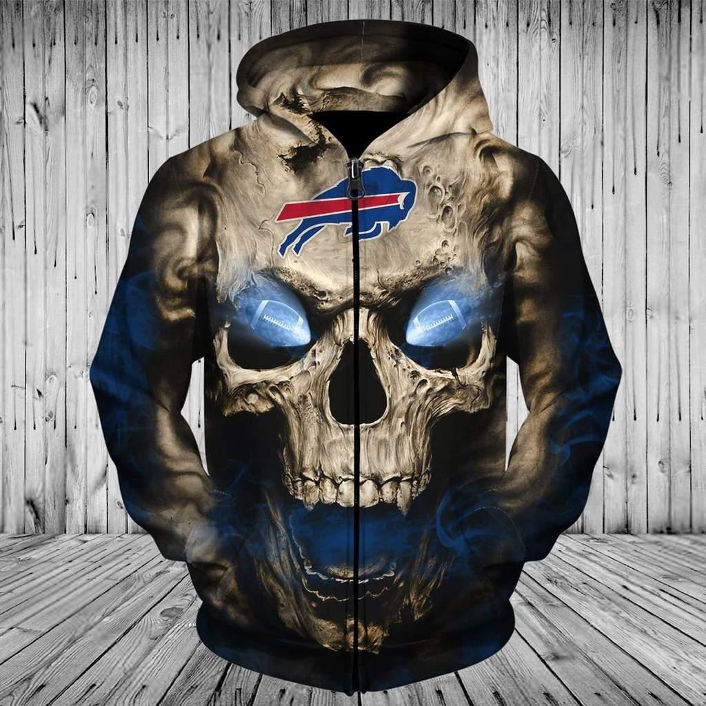 Skull buffalo bills full printing zip hoodie
