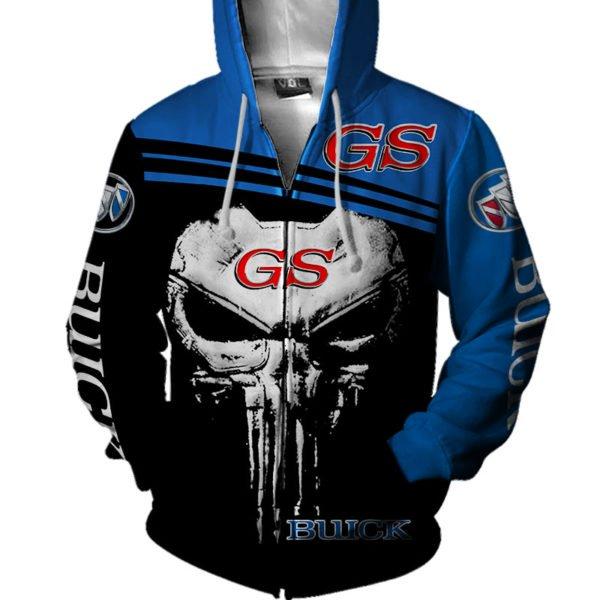 Skull buick gs all over printed zip hoodie