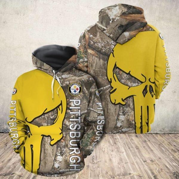 Skull camo pittsburgh steelers all over print hoodie 1