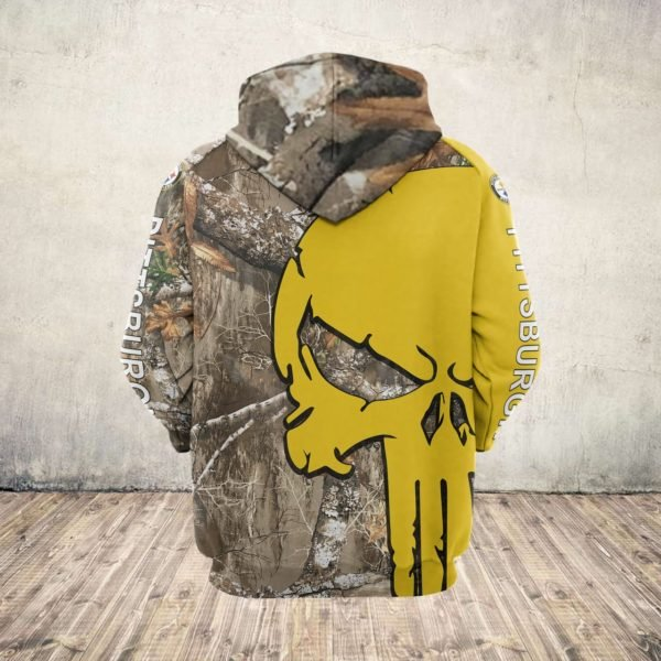 Skull camo pittsburgh steelers all over print zip hoodie 1