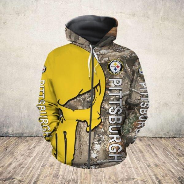 Skull camo pittsburgh steelers all over print zip hoodie