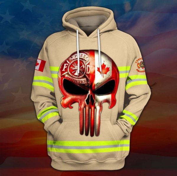 Skull canadian firefighter full printing hoodie