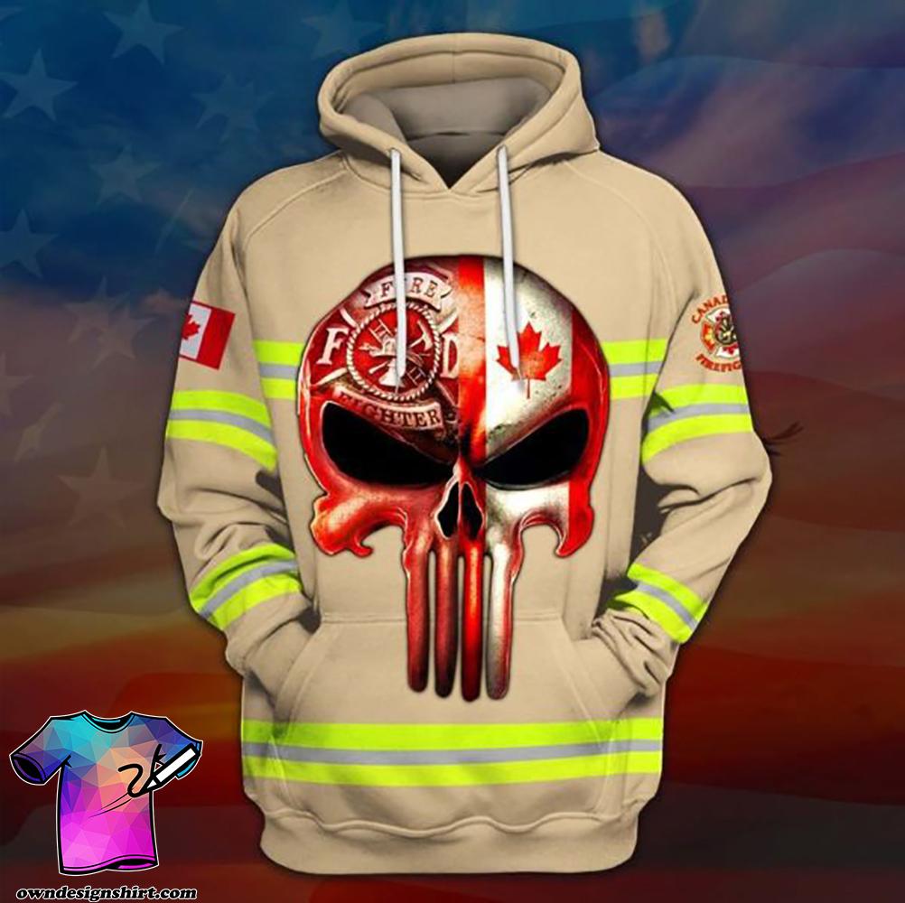 Skull canadian firefighter full printing shirt