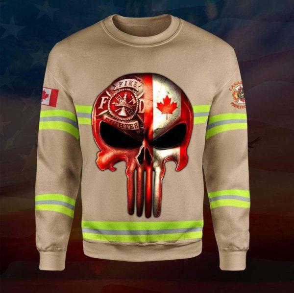 Skull canadian firefighter full printing sweatshirt