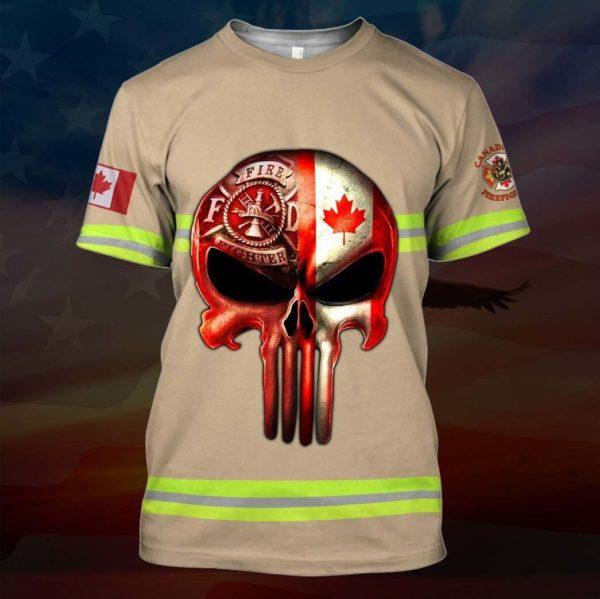 Skull canadian firefighter full printing tshirt
