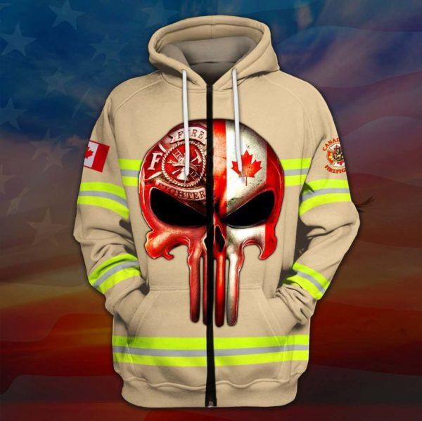 Skull canadian firefighter full printing zip hoodie