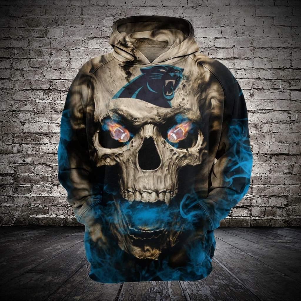 Skull carolina panthers full printing hoodie