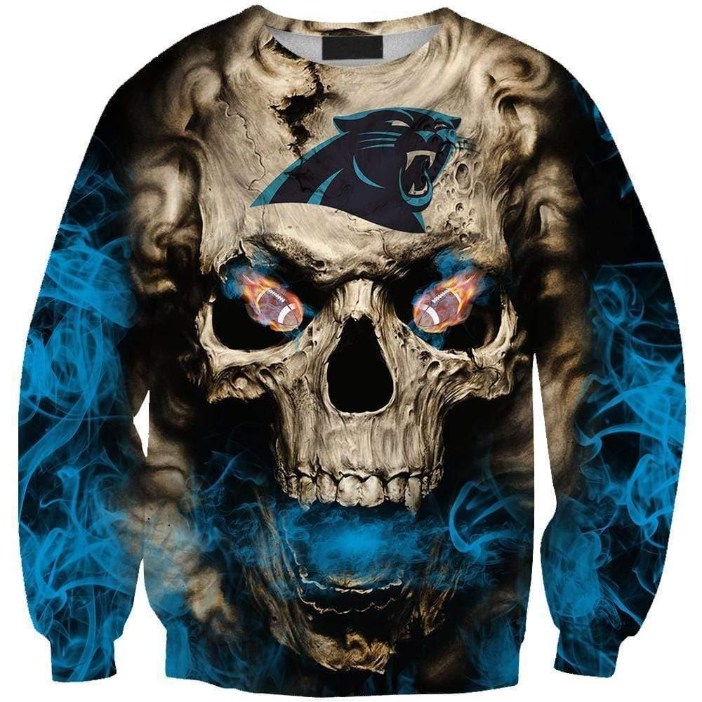Skull carolina panthers full printing sweatshirt