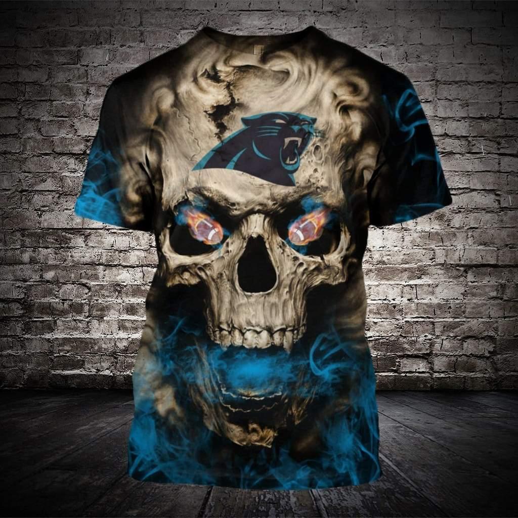 Skull carolina panthers full printing tshirt