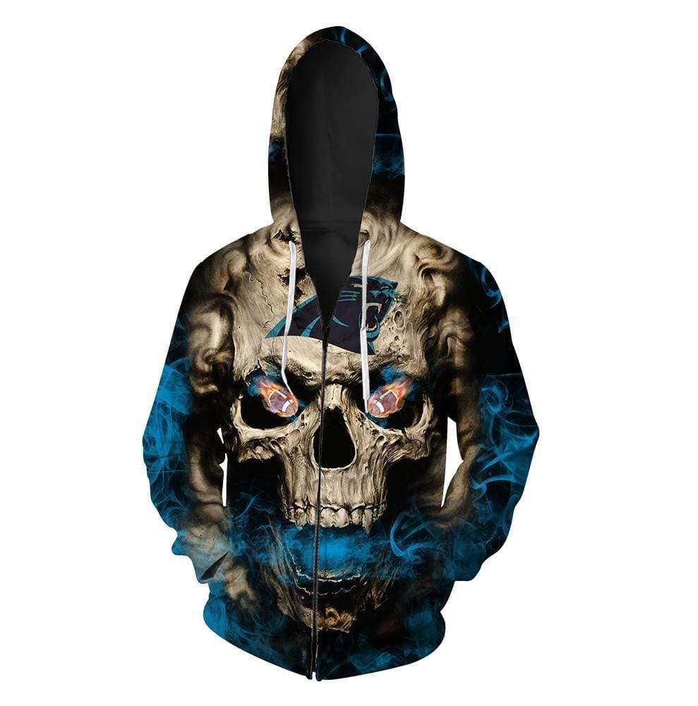 Skull carolina panthers full printing zip hoodie