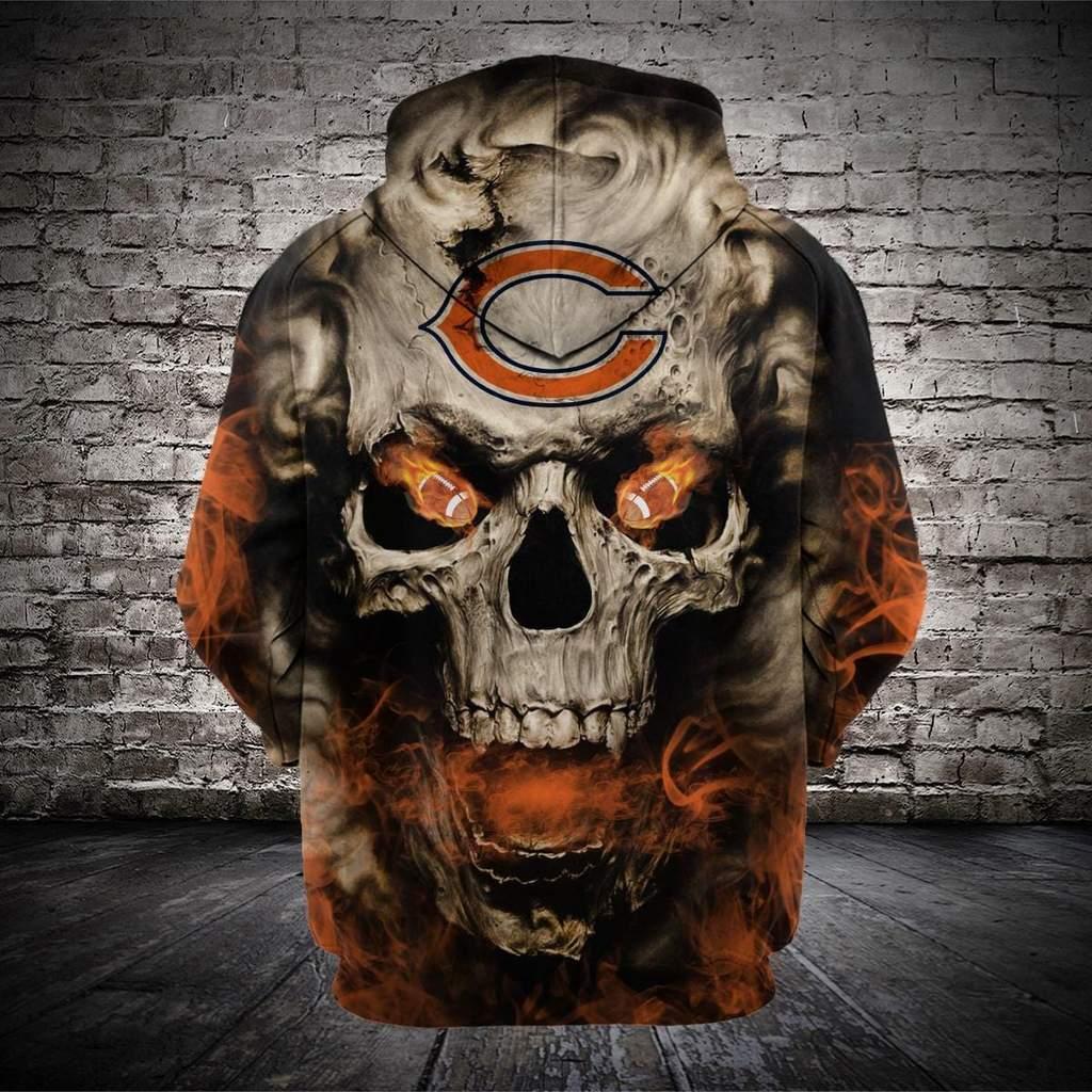 Skull chicago bears full printing hoodie 1