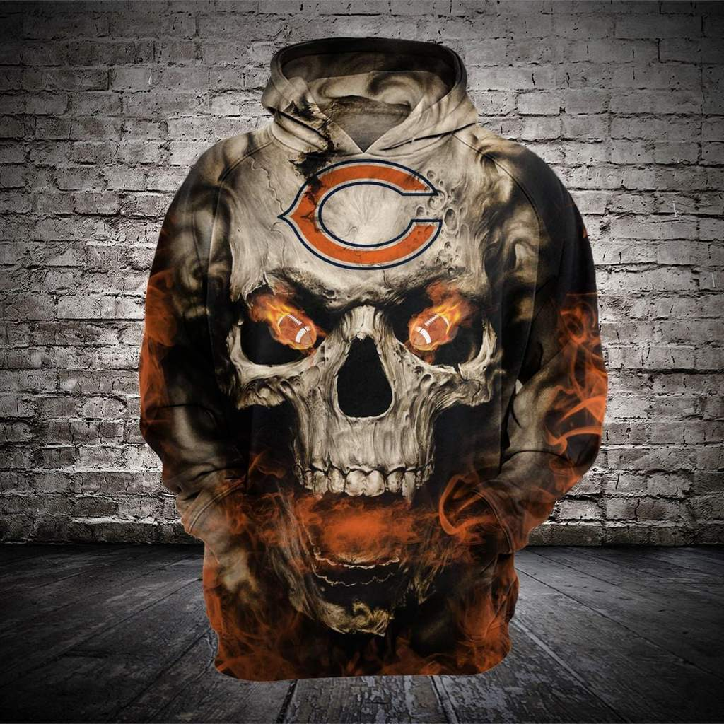 Skull chicago bears full printing hoodie