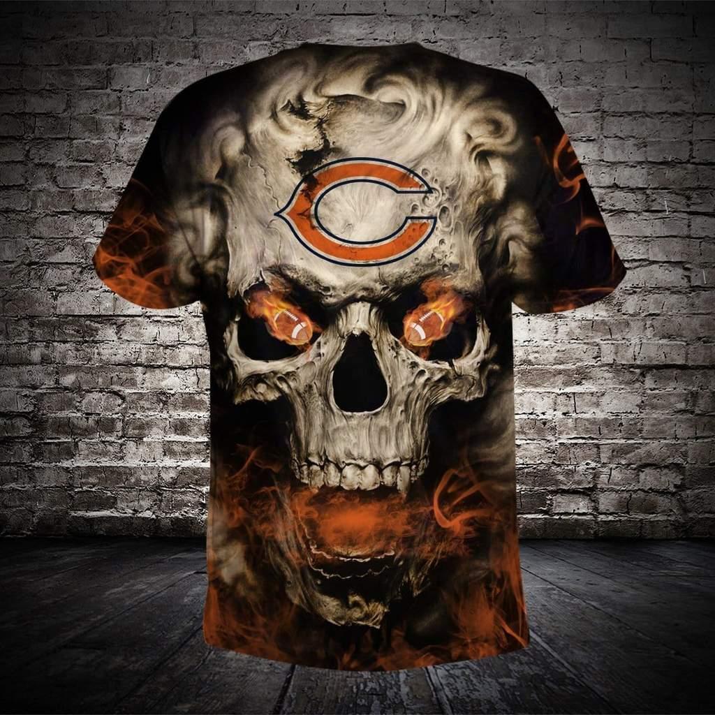Skull chicago bears full printing tshirt 1
