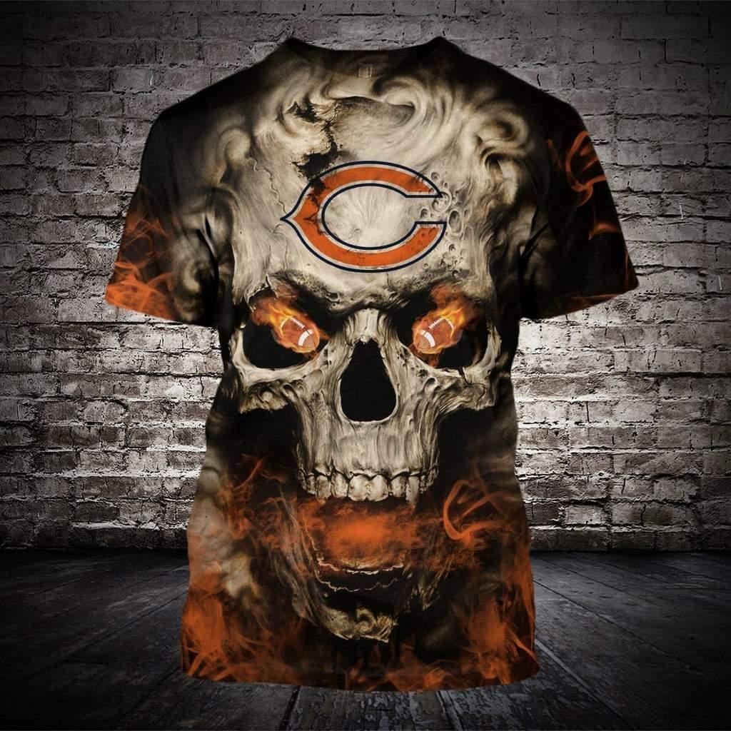 Skull chicago bears full printing tshirt