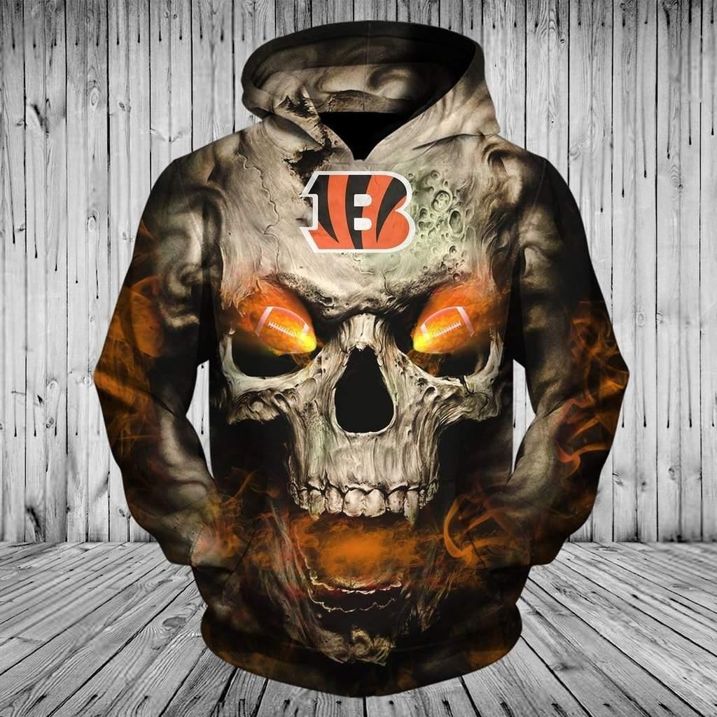 Skull cincinnati bengals full printing hoodie