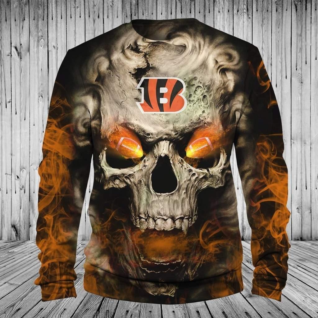 Skull cincinnati bengals full printing sweatshirt